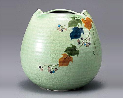 九谷焼 6号 花瓶 フラワーベース 野ぶどう 色絵九谷遊