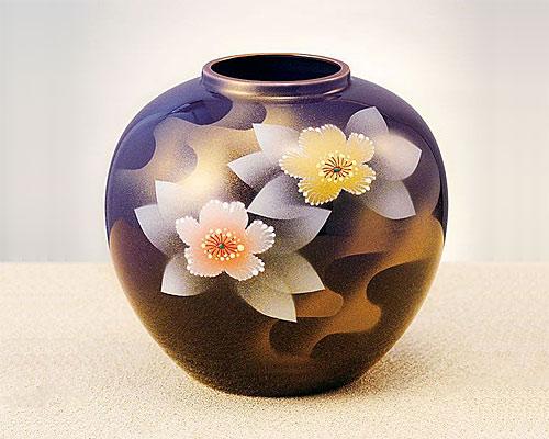 九谷焼 6号 花瓶 フラワーベース 銀山茶花
