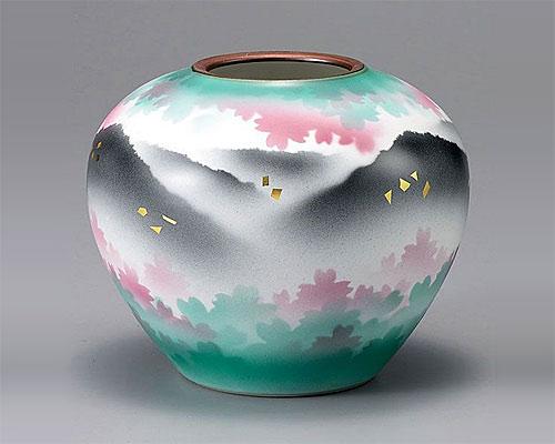 九谷焼 5.5号花瓶 フラワーベース 花連山