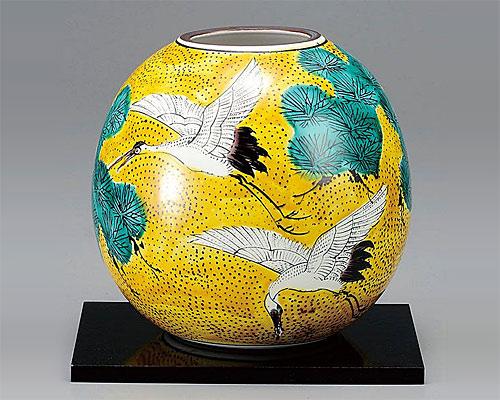 九谷焼 5.5号花瓶 フラワーベース 吉田屋松に鶴