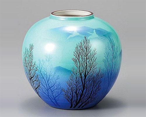 九谷焼 6号 花瓶 フラワーベース 釉彩木立