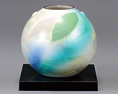 九谷焼 6号 花瓶 フラワーベース 銀彩葉紋