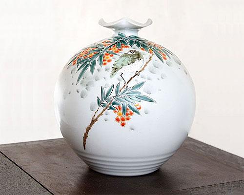 九谷焼 5号 花瓶 フラワーベース 南天に鳥 福田良則