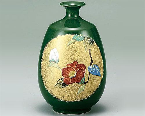九谷焼 7号 花瓶 フラワーベース 金彩山茶花