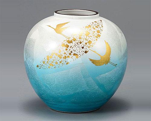 九谷焼 6号 花瓶 フラワーベース 銀彩金鶴