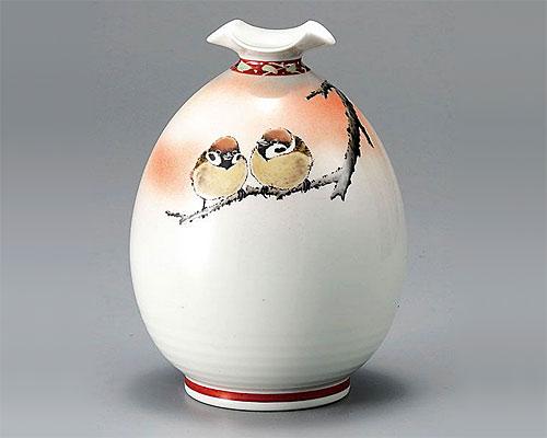 九谷焼 6号 花瓶 フラワーベース 二雀図 中村陶志人