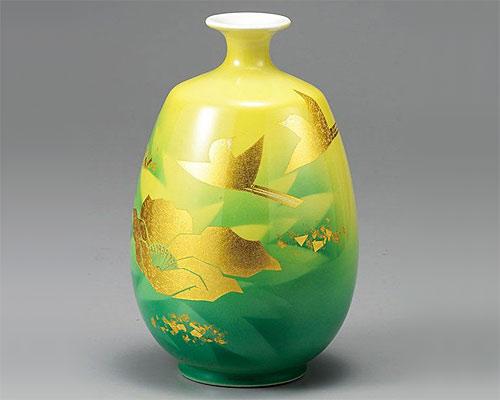 九谷焼 8号 花瓶 フラワーベース 金箔彩花鳥 山田登陽志