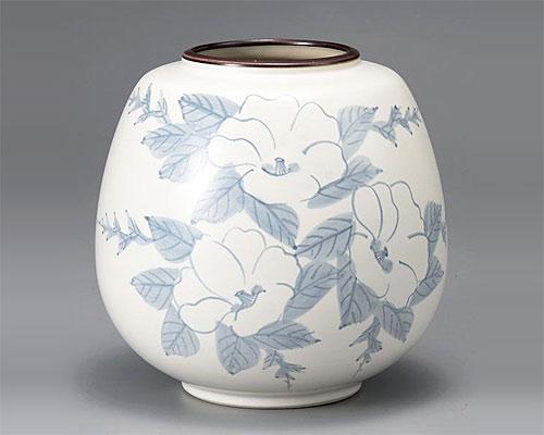 九谷焼 7号 花瓶 フラワーベース 山茶花