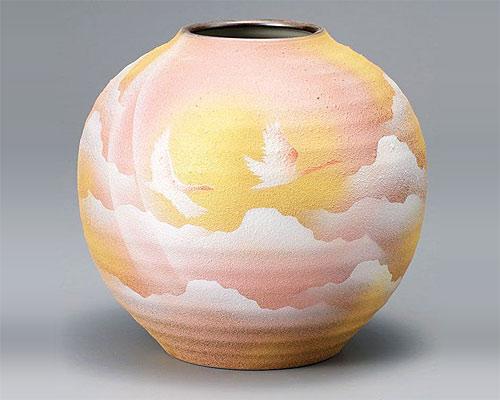 九谷焼 7号 花瓶 フラワーベース 鶴連山