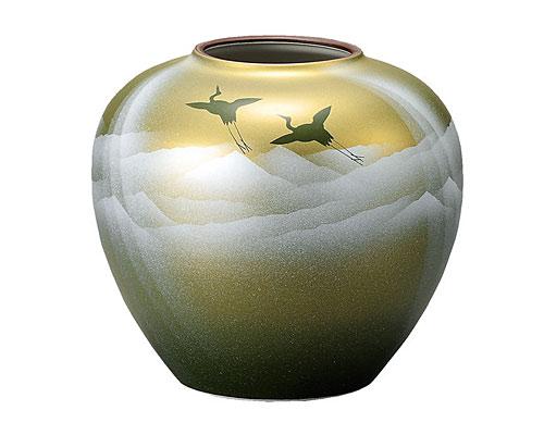 九谷焼 7号 花瓶 フラワーベース 銀彩山