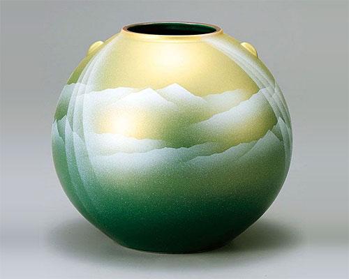 九谷焼 7号 花瓶 フラワーベース 陽光連山