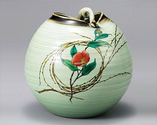 九谷焼 7号 花瓶 フラワーベース 柳むすび