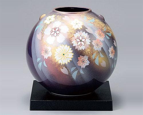 九谷焼 7号 花瓶 フラワーベース 陽光花の舞