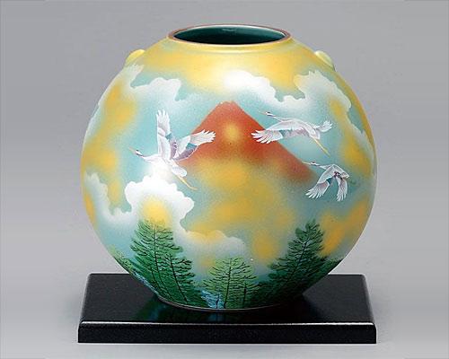 九谷焼 7号花瓶 フラワーベース 赤富士に鶴