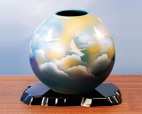 九谷焼 7号 花瓶 フラワーベース 雲海鶴