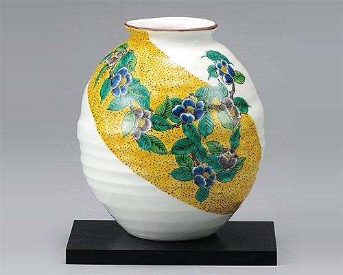 九谷焼 7号 花瓶 フラワーベース 吉田屋山茶花