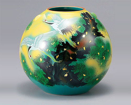 九谷焼 7号 花瓶 フラワーベース 松に鶴