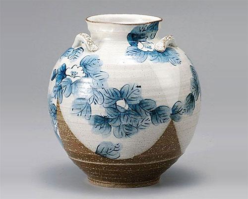 九谷焼 7号 花瓶 フラワーベース 染椿 東孝子