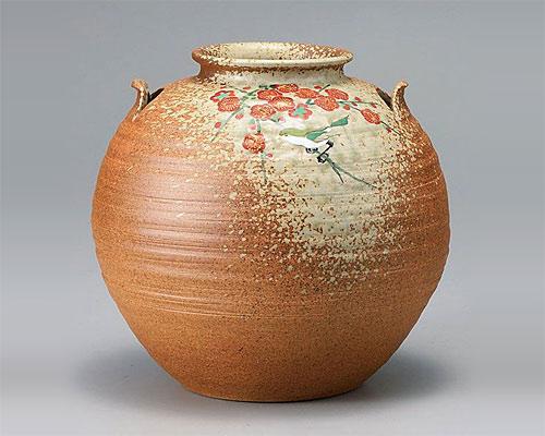 九谷焼 7号 花瓶 フラワーベース 梅に鳥 古田弘毅