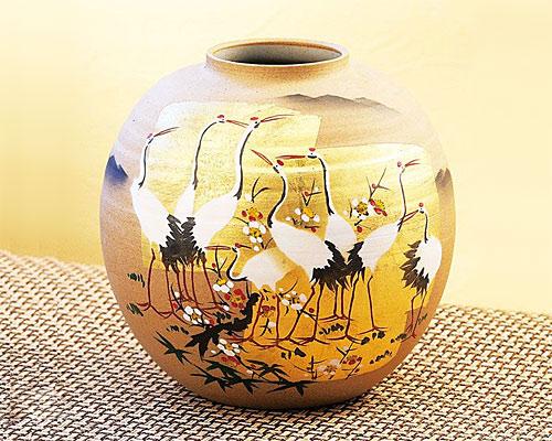 九谷焼 7号 花瓶 フラワーベース 金箔群鶴