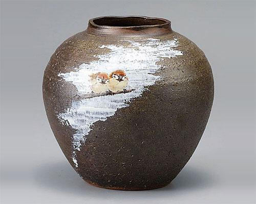 九谷焼 7号 花瓶 フラワーベース 福雀 中村陶志人