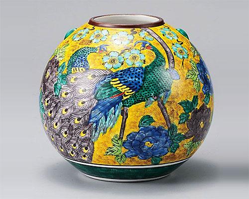 九谷焼 7号 花瓶 フラワーベース 吉田屋牡丹孔雀