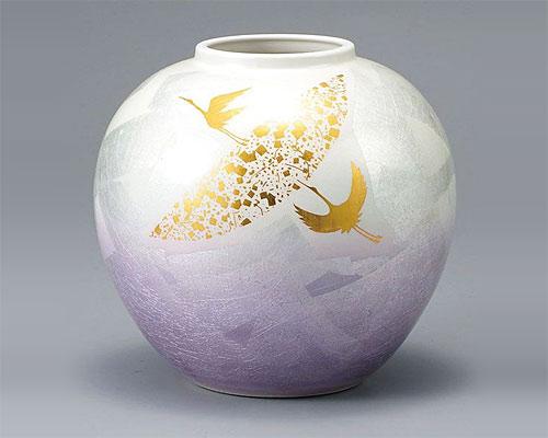 九谷焼 7号 花瓶 フラワーベース 銀彩鶴紋