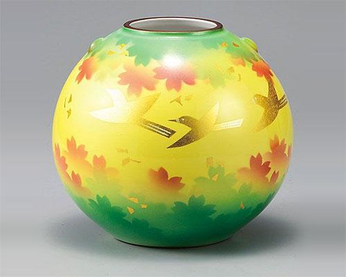 九谷焼 7号 花瓶 フラワーベース 金箔彩花鳥 山田登陽志