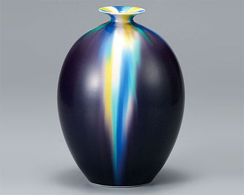 九谷焼 7号 花瓶 フラワーベース 釉彩 博峰窯