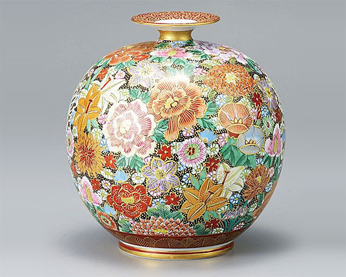 九谷焼 7号 花瓶 フラワーベース 本金 花詰大雅