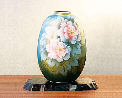 九谷焼 8号 花瓶 フラワーベース 牡丹