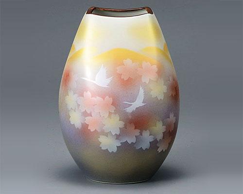九谷焼 8号 花瓶 フラワーベース 花文鶴