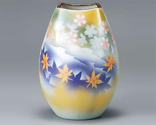 九谷焼 8号 花瓶 フラワーベース 春秋