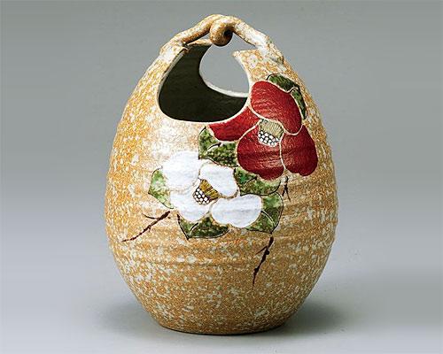 九谷焼 8号 花瓶 フラワーベース 紅白椿 色絵九谷遊