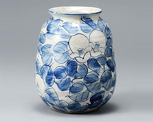九谷焼 7号花瓶 フラワーベース 染付椿 九谷和窯