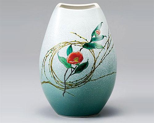 九谷焼 8号 花瓶 フラワーベース 柳むすび