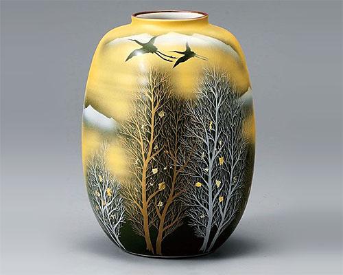 九谷焼 8号 花瓶 フラワーベース 金雲鶴