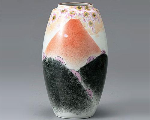 九谷焼 9号 花瓶 フラワーベース 赤富士