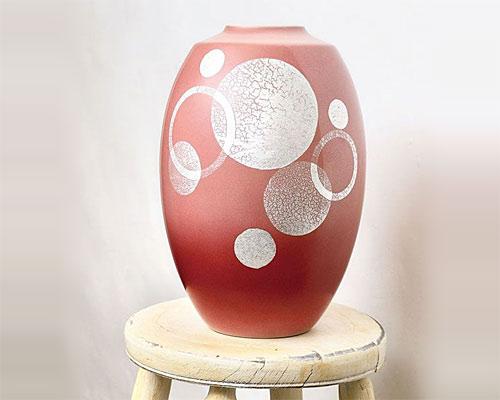 九谷焼 8号 花瓶 フラワーベース 丸紋銀箔彩 山田登陽志