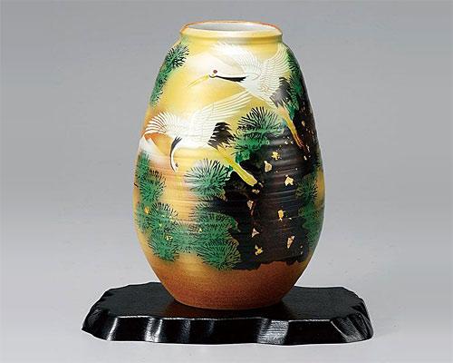 九谷焼 8号 花瓶 フラワーベース 松に鶴