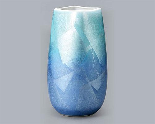 九谷焼 9号 花瓶 フラワーベース 銀彩