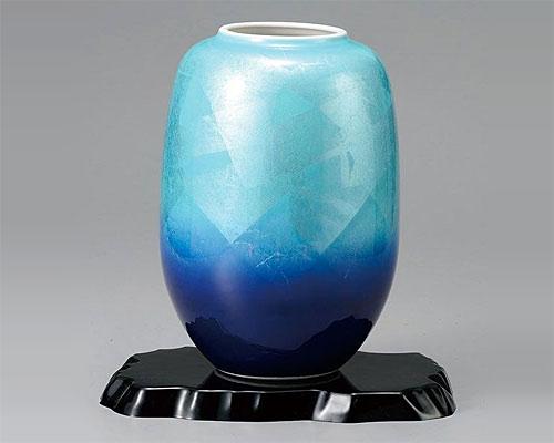 九谷焼 8号 花瓶 フラワーベース 銀彩