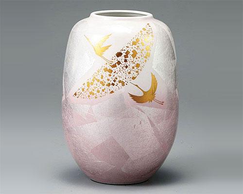 九谷焼 8号ナツメ花瓶 フラワーベース 銀彩鶴