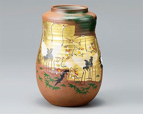 九谷焼 8号 花瓶 フラワーベース 金箔群鶴