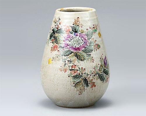 九谷焼 8号 花瓶 フラワーベース 山茶花