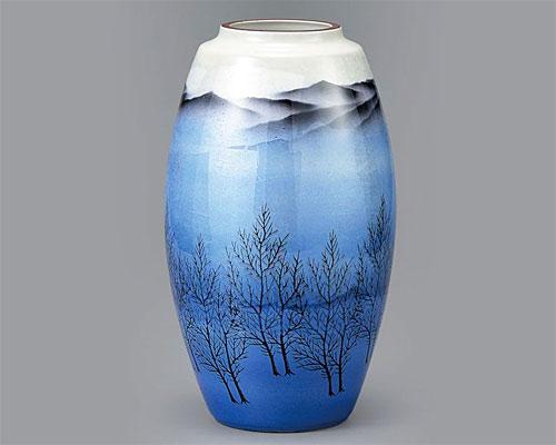 九谷焼 9号 花瓶 フラワーベース 銀彩木立連山