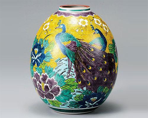 九谷焼 8号 花瓶 フラワーベース 吉田屋孔雀