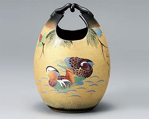 九谷焼 8号手桶花瓶 フラワーベース 古田弘毅