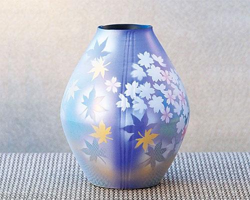 九谷焼 9号 花瓶 フラワーベース 春秋