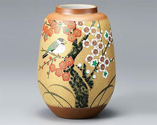 九谷焼 8号 花瓶 フラワーベース 金彩紅白梅に文鳥 古田弘毅